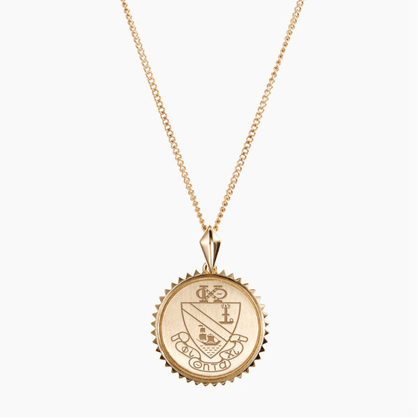 Gold Phi Chi Theta Sunburst Crest Necklace