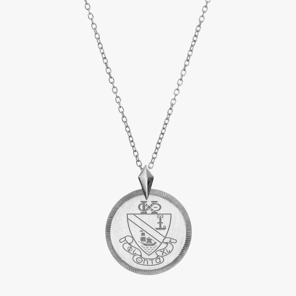 Sterling Silver Phi Chi Theta Florentine Crest Necklace Petite