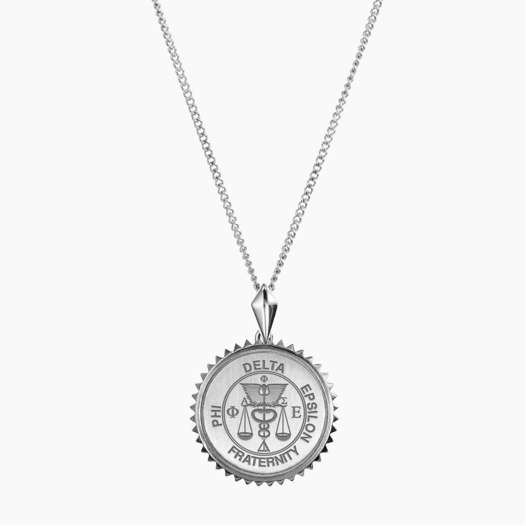 Silver Phi Delta Epsilon Sunburst Crest Necklace