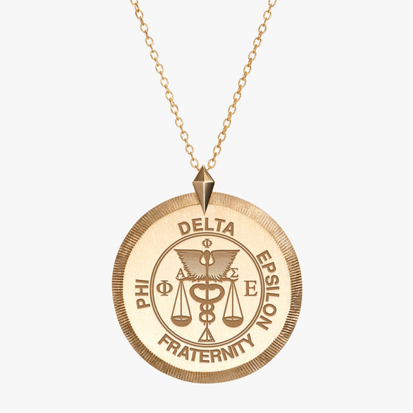 Gold Phi Delta Epsilon Florentine Crest Necklace
