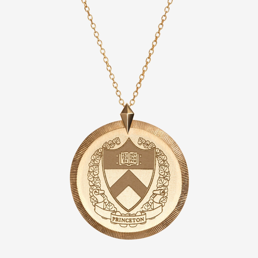 Gold Princeton Florentine Crest Necklace Large