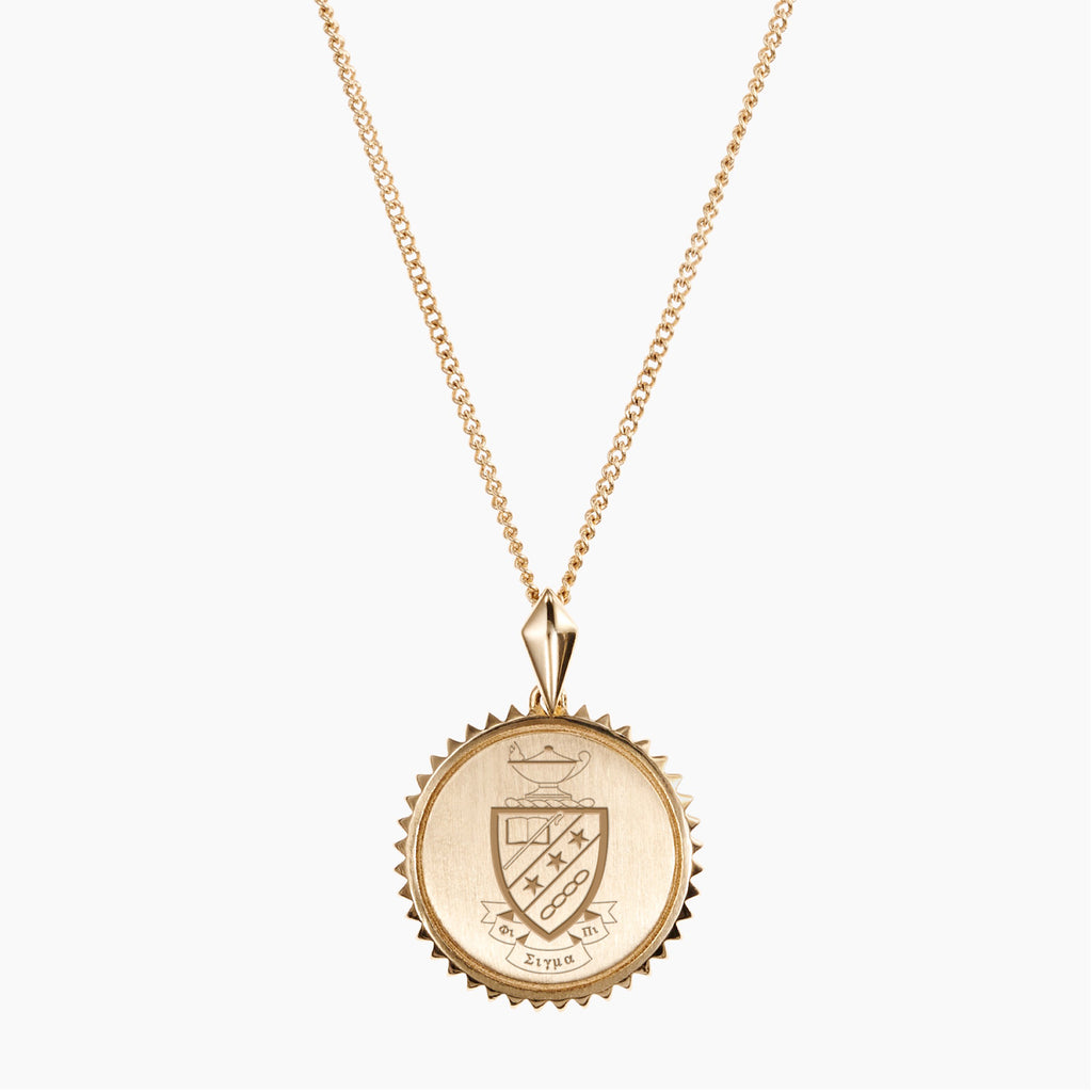 Gold Phi Sigma Pi Sunburst Crest Necklace