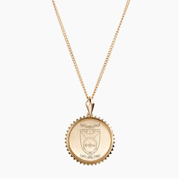 Gold Phi Sigma Rho Sunburst Crest Necklace