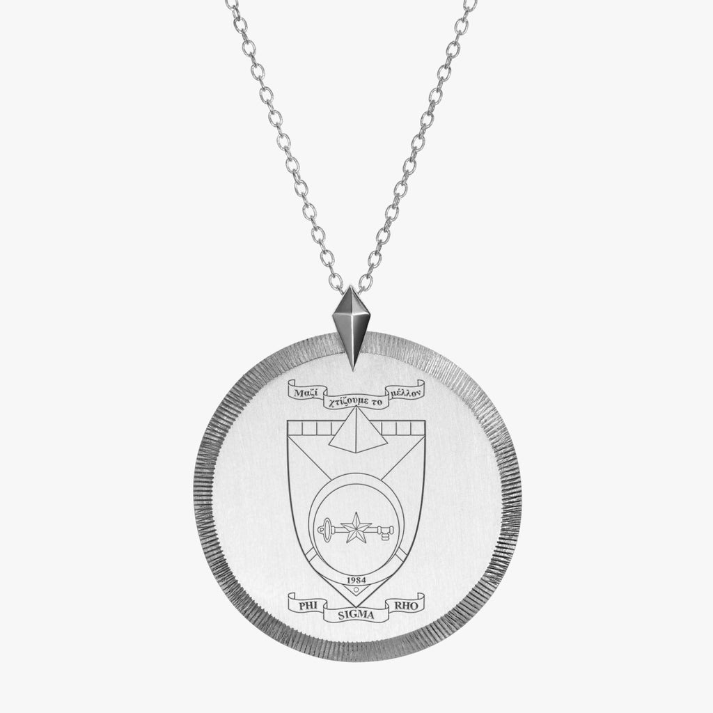 Silver Phi Sigma Rho Florentine Crest Necklace