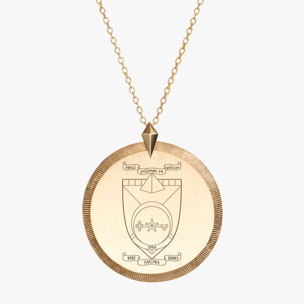 Gold Phi Sigma Rho Florentine Crest Necklace