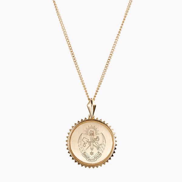 Gold Sigma Delta Tau Sunburst Crest Necklace