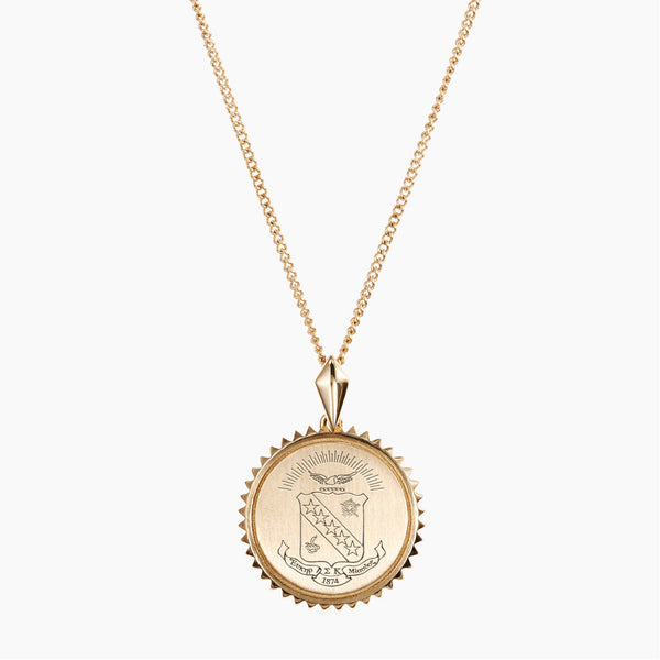 Gold Sigma Kappa Sunburst Crest Necklace