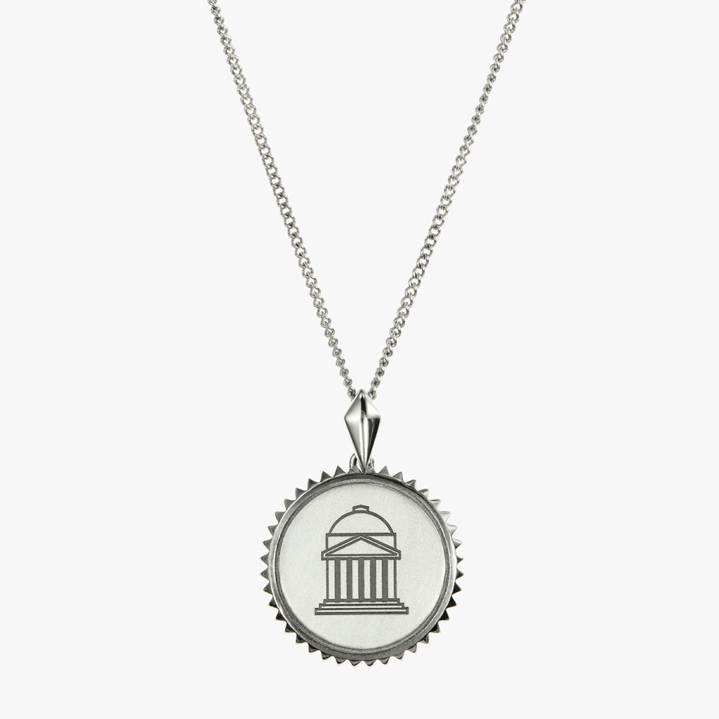 Silver SMU Sunburst Crest Necklace