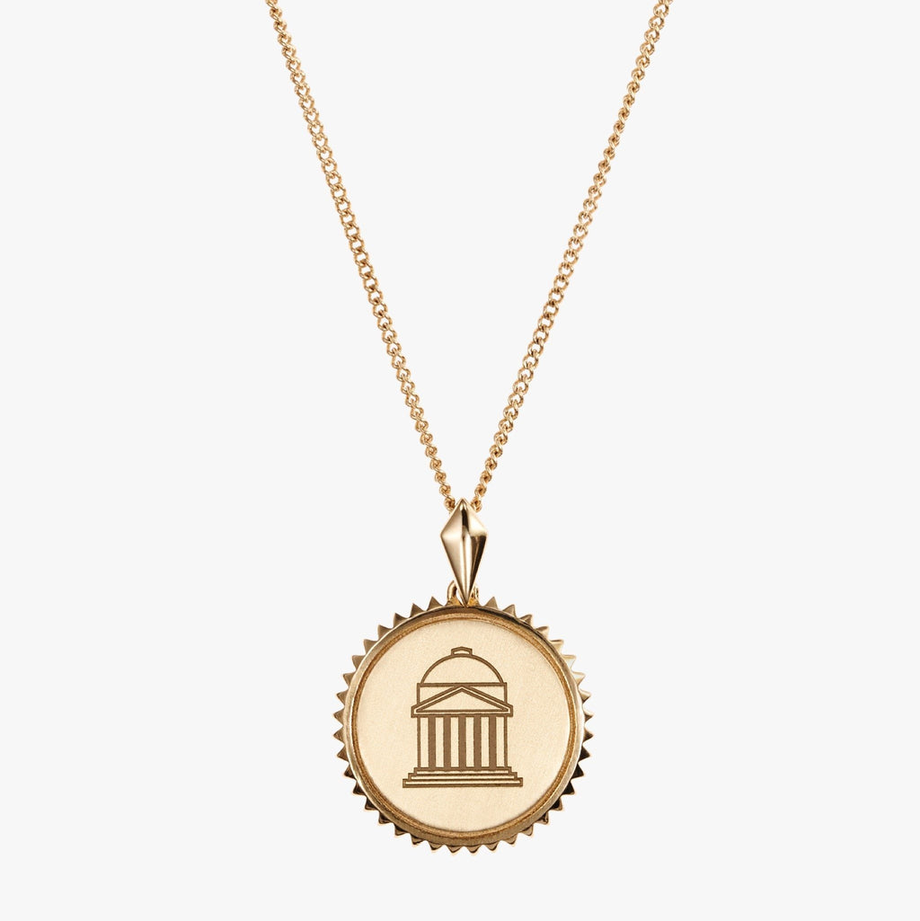 Gold SMU Sunburst Crest Necklace