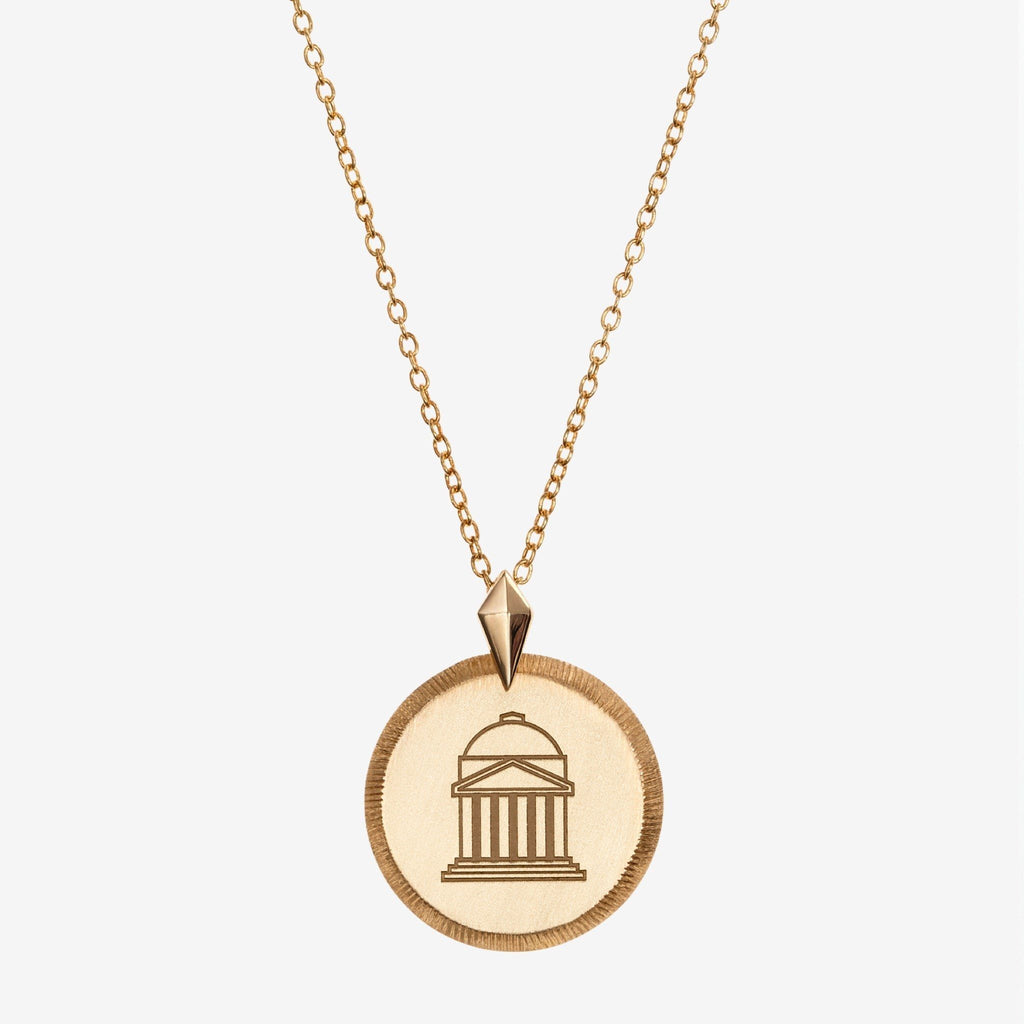 Gold SMU Florentine Crest Necklace Petite