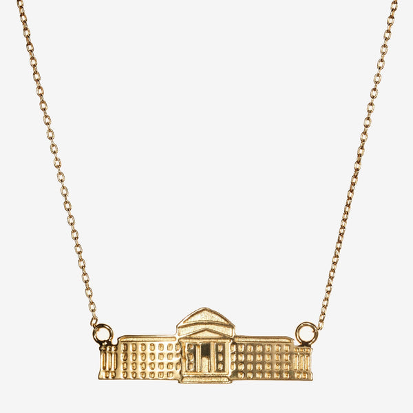 Gold SMU Dallas Hall Architecture Necklace
