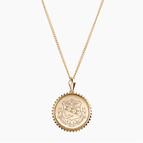 Gold Sigma Sigma Sigma Sunburst Crest Necklace