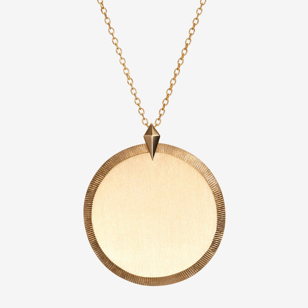 Gold Florentine Pendant Necklace Large