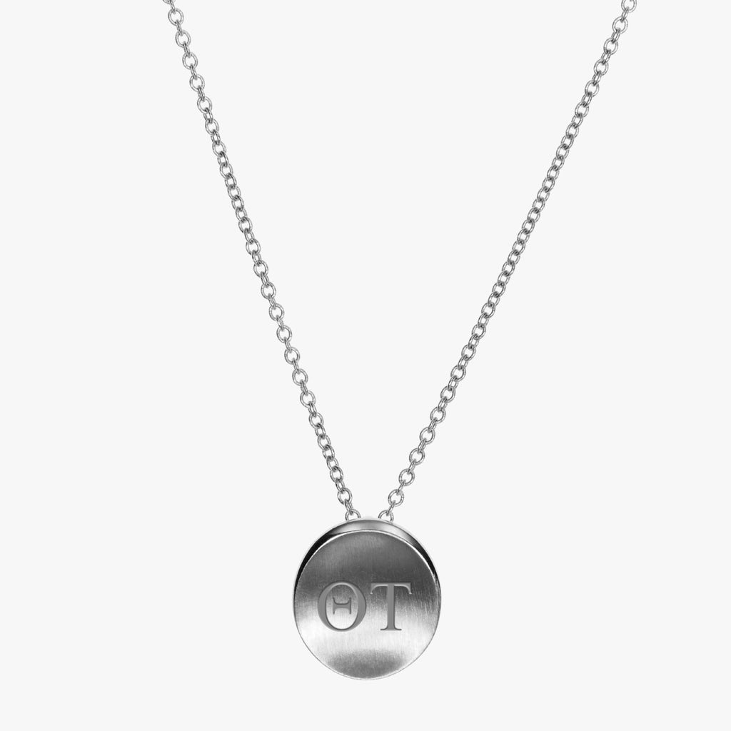 Silver Theta Tau Letters Necklace Petite