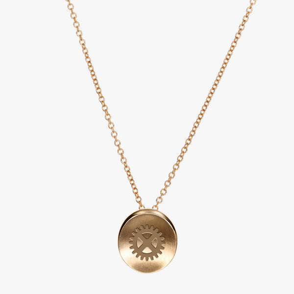 Gold Theta Tau Gear Necklace Petite
