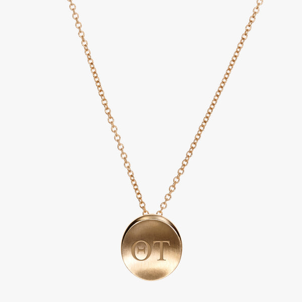 Gold Theta Tau Letters Necklace Petite
