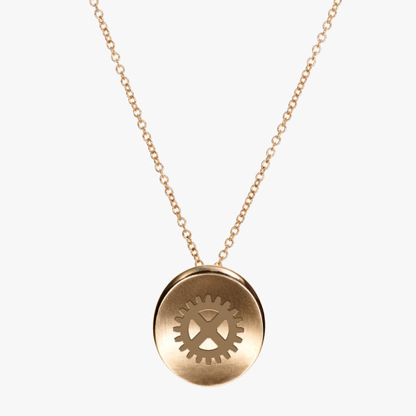 Gold Theta Tau Gear Necklace