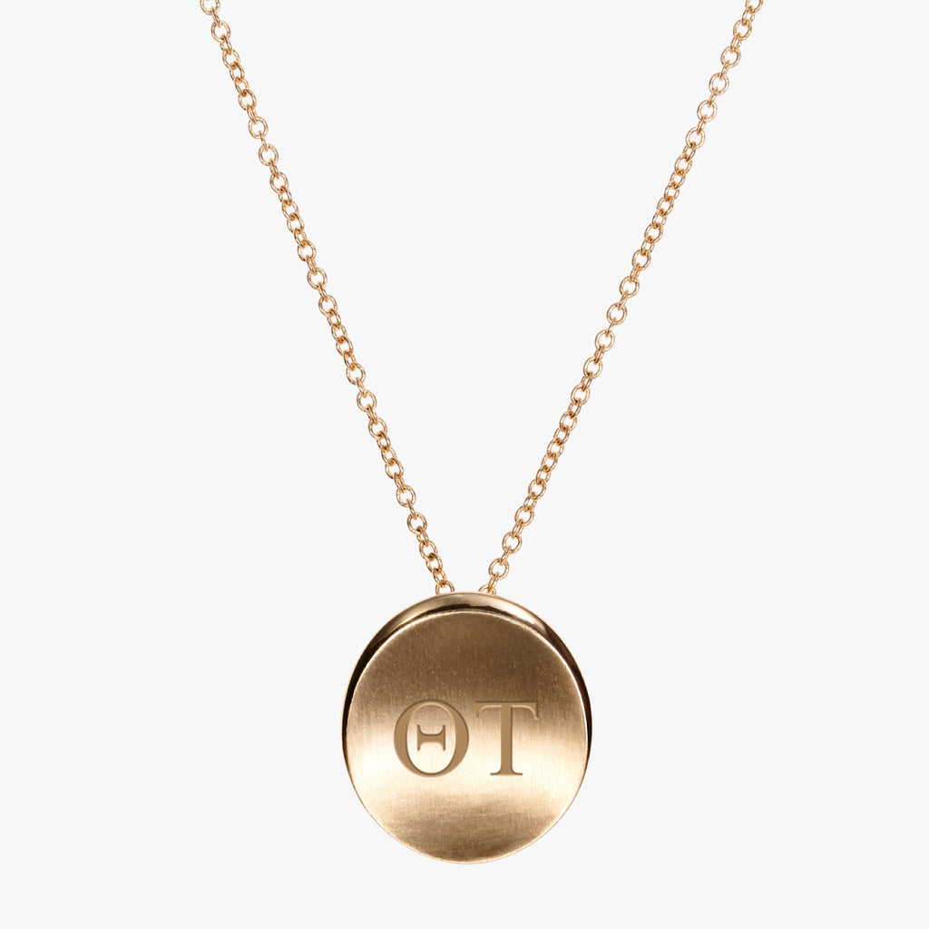 Gold Theta Tau Letters Necklace
