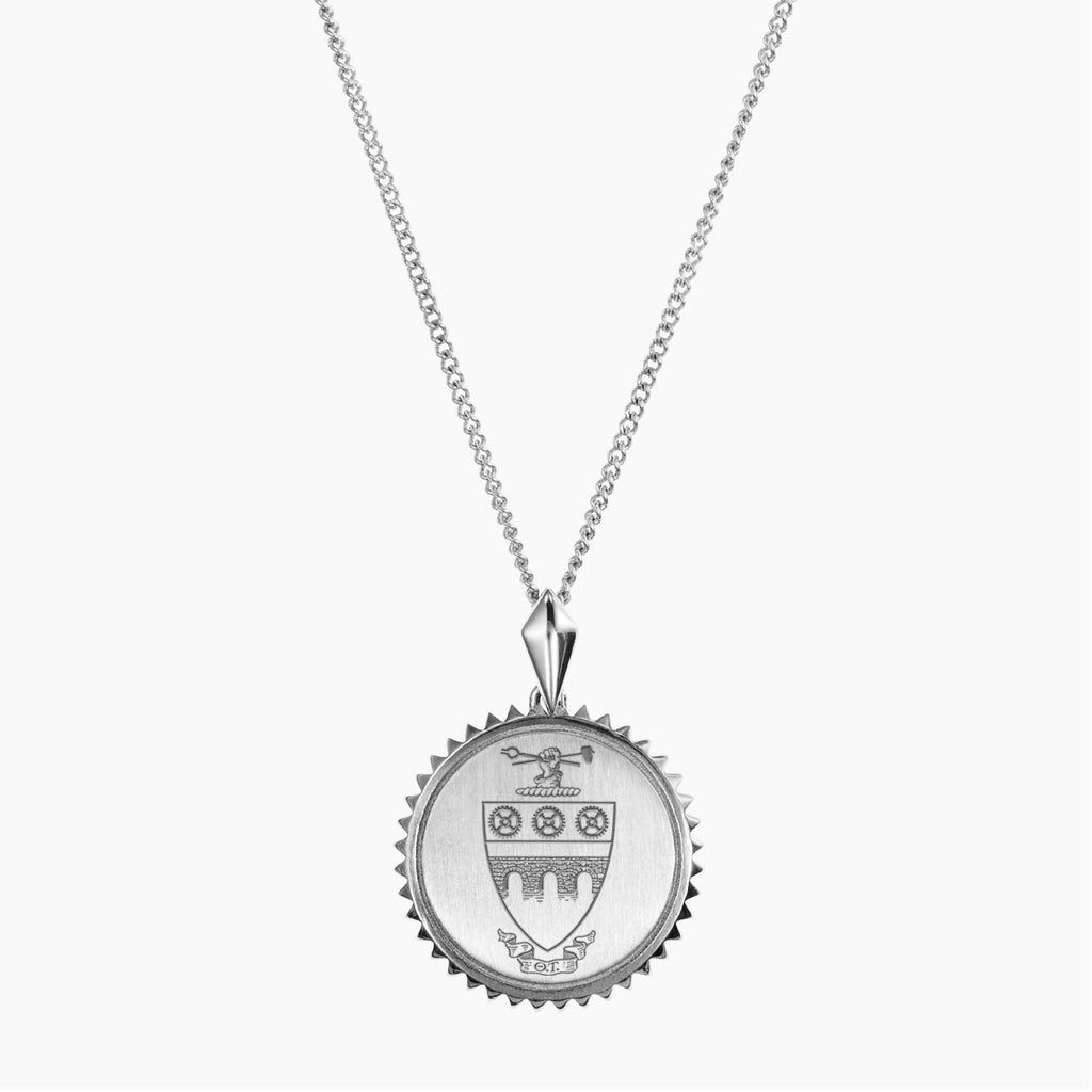 Silver Theta Tau Sunburst Crest Necklace