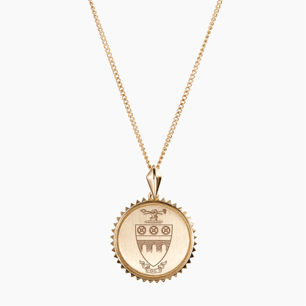 Gold Theta Tau Sunburst Crest Necklace