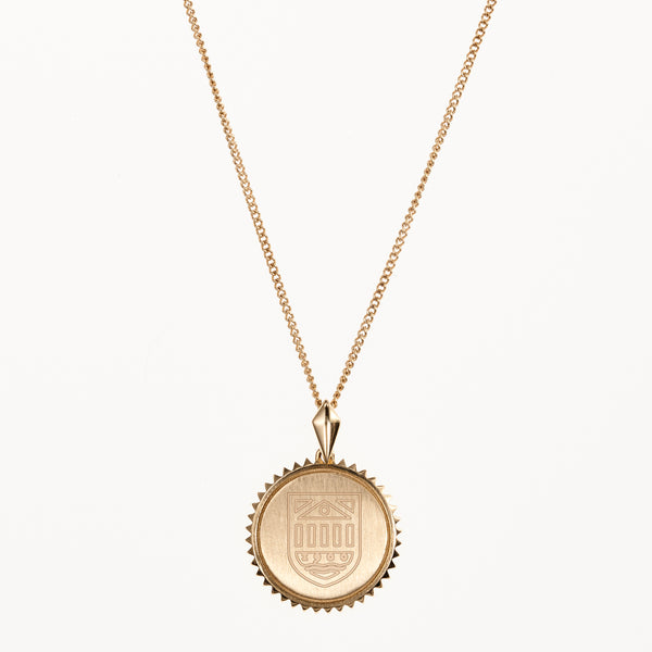 Tuck Shield Sunburst Necklace Dartmouth Gold