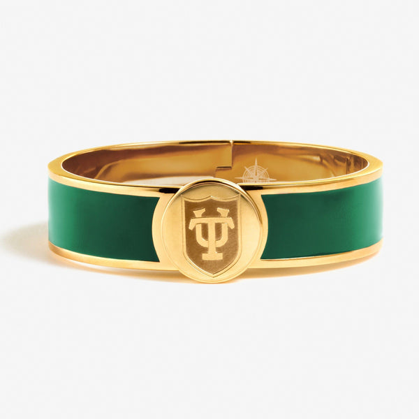 Green Tulane Enamel Shield Bracelet