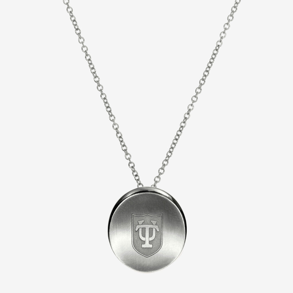 Silver Tulane Organic TU Shield Necklace