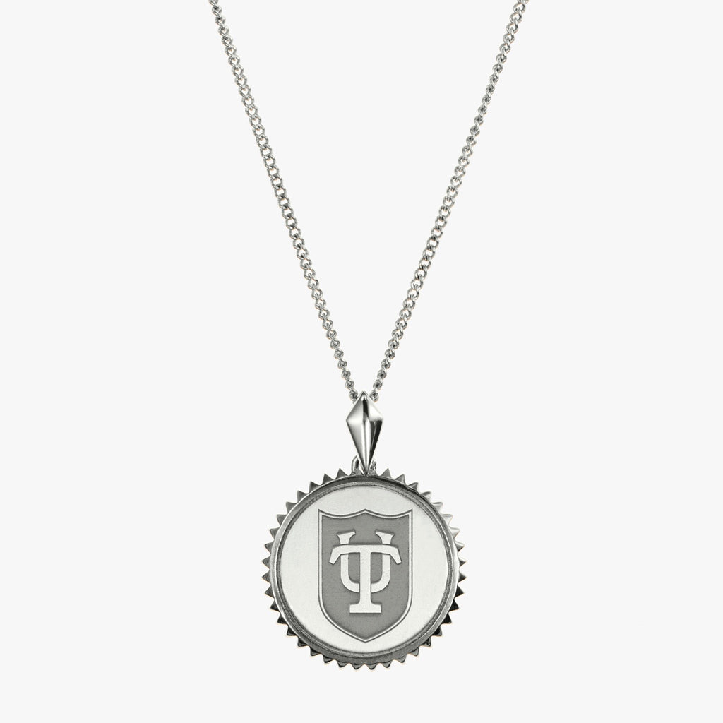 Silver Tulane Sunburst TU Shield Necklace