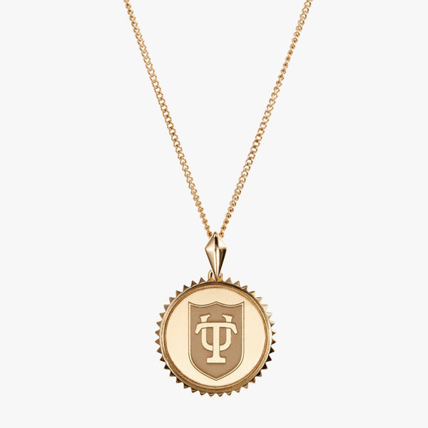Gold Tulane Sunburst TU Shield Necklace