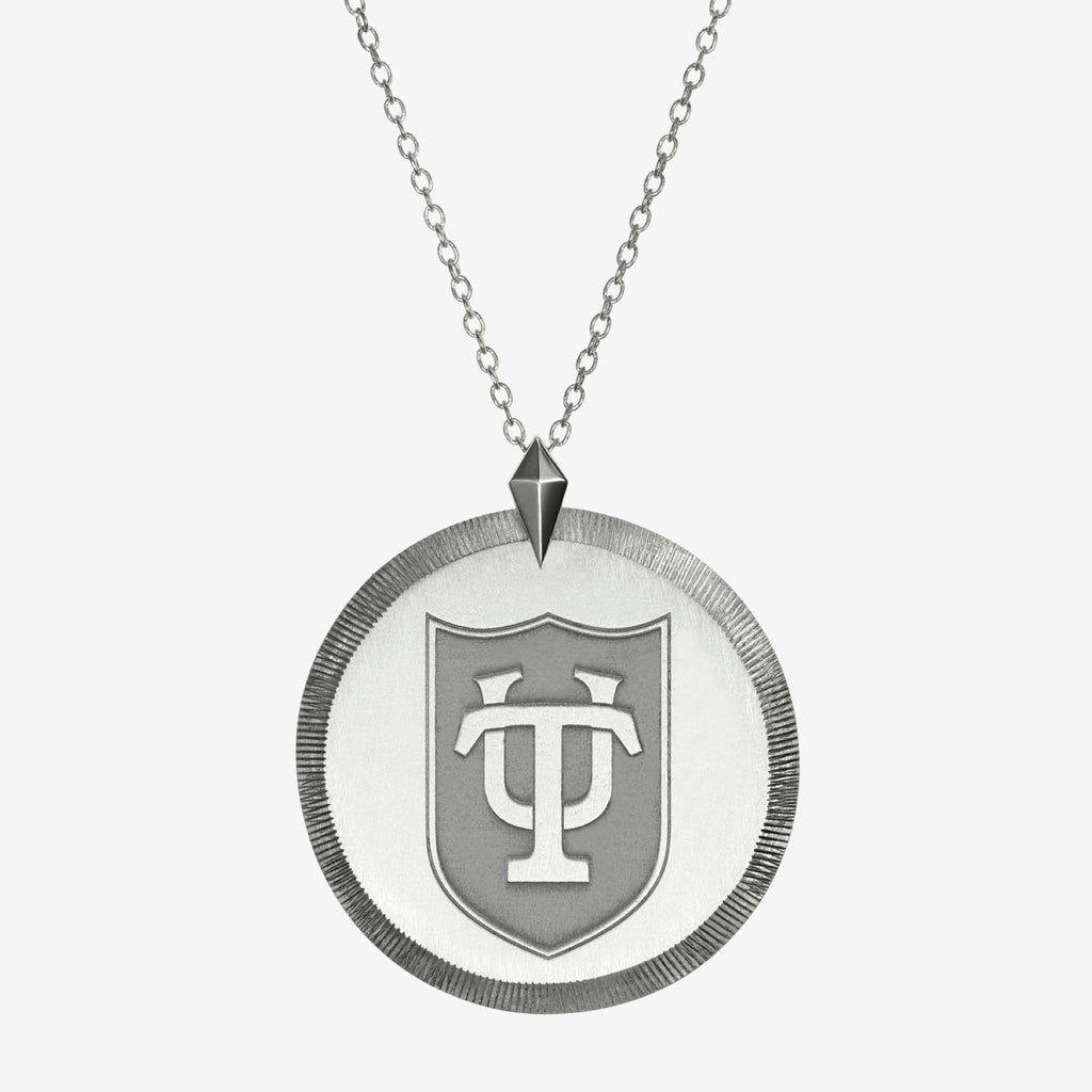 Silver Tulane Florentine Crest Necklace Large