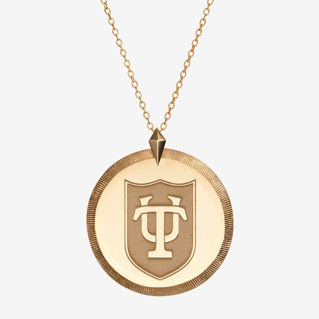Gold Tulane Florentine Crest Necklace Large