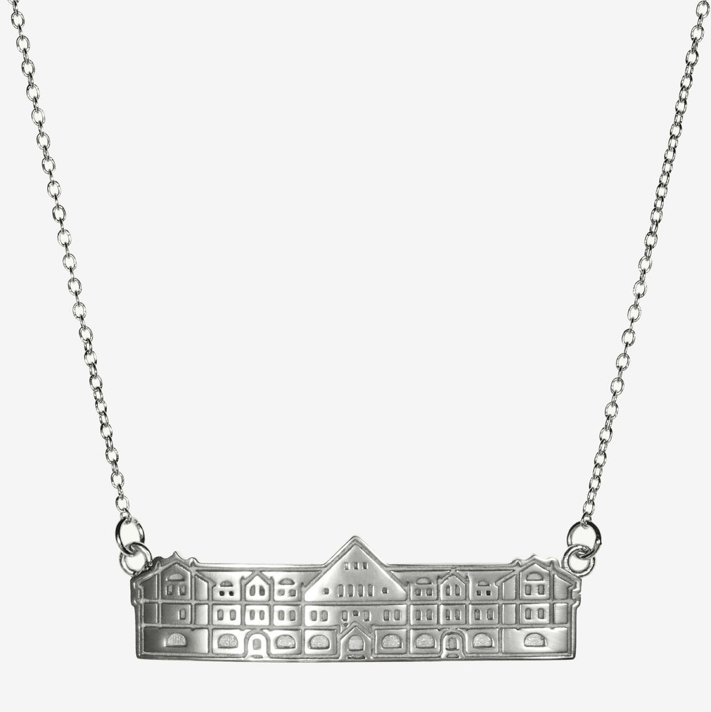 Silver Tulane Gibson Hall Architecture Necklace