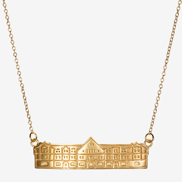 Gold Tulane Gibson Hall Architecture Necklace