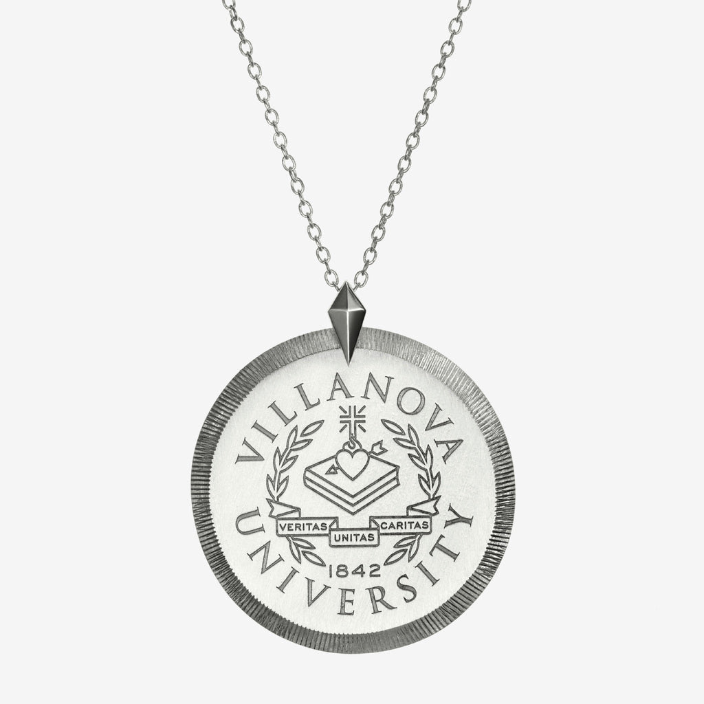Silver Villanova Florentine Crest Necklace Large