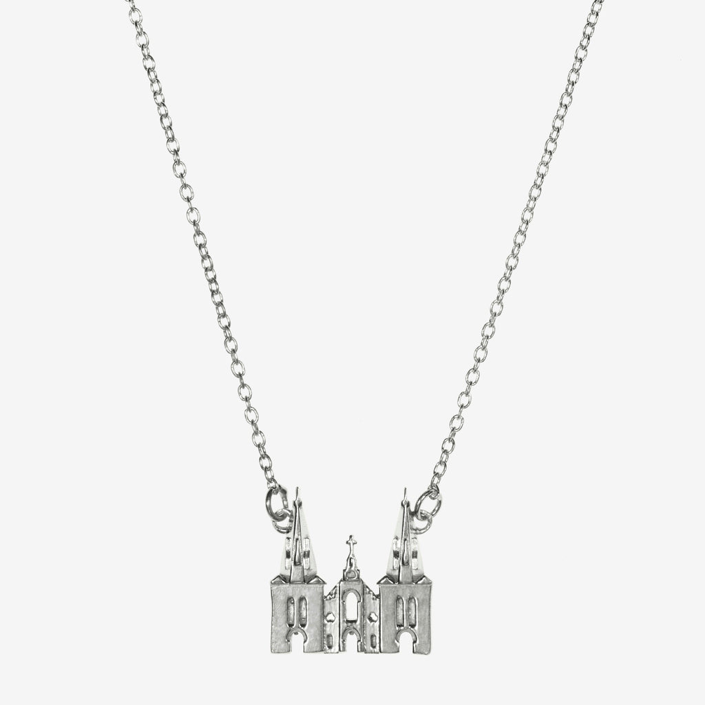 Silver Villanova Church Architecture Necklace