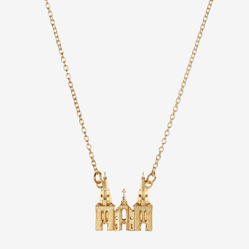 Gold Villanova Church Architecture Necklace