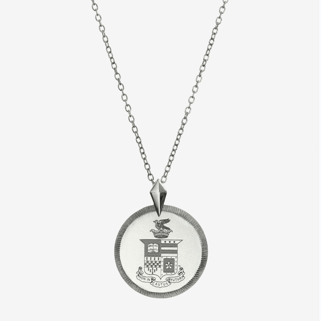 Silver Washington & Lee Florentine Crest Necklace Petite