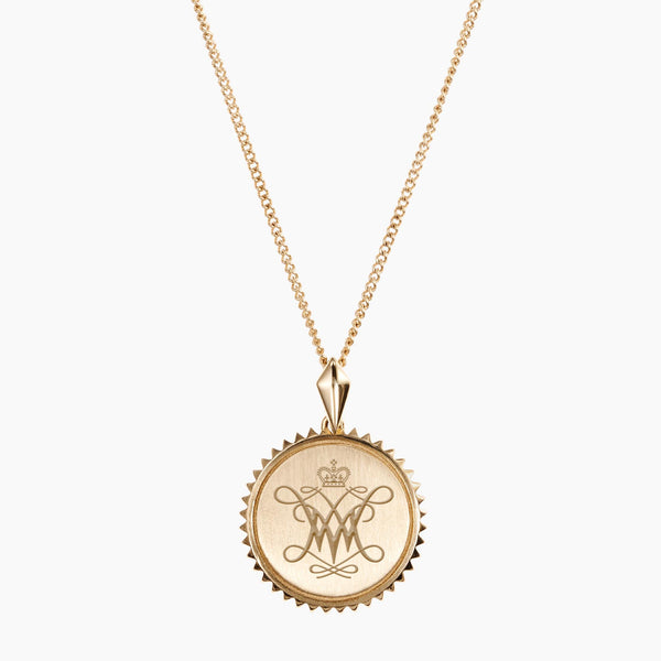 Gold William & Mary Sunburst Cypher Necklace