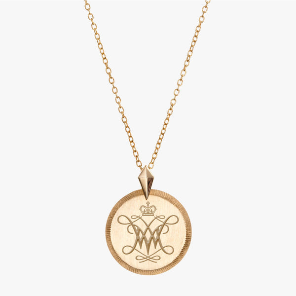 Gold William & Mary Florentine Cypher Necklace Petite