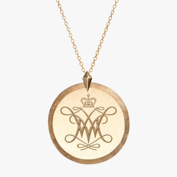 Gold William & Mary Florentine Cypher Necklace