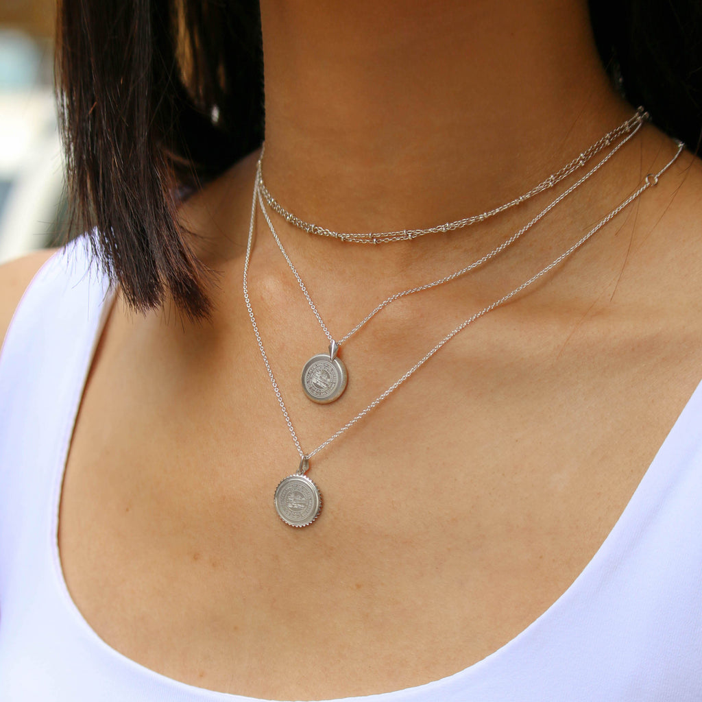 Silver Berkeley Florentine Necklace Petite on Figure