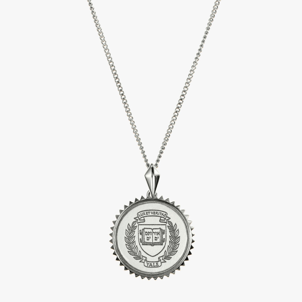 Silver Yale Sunburst Crest Necklace