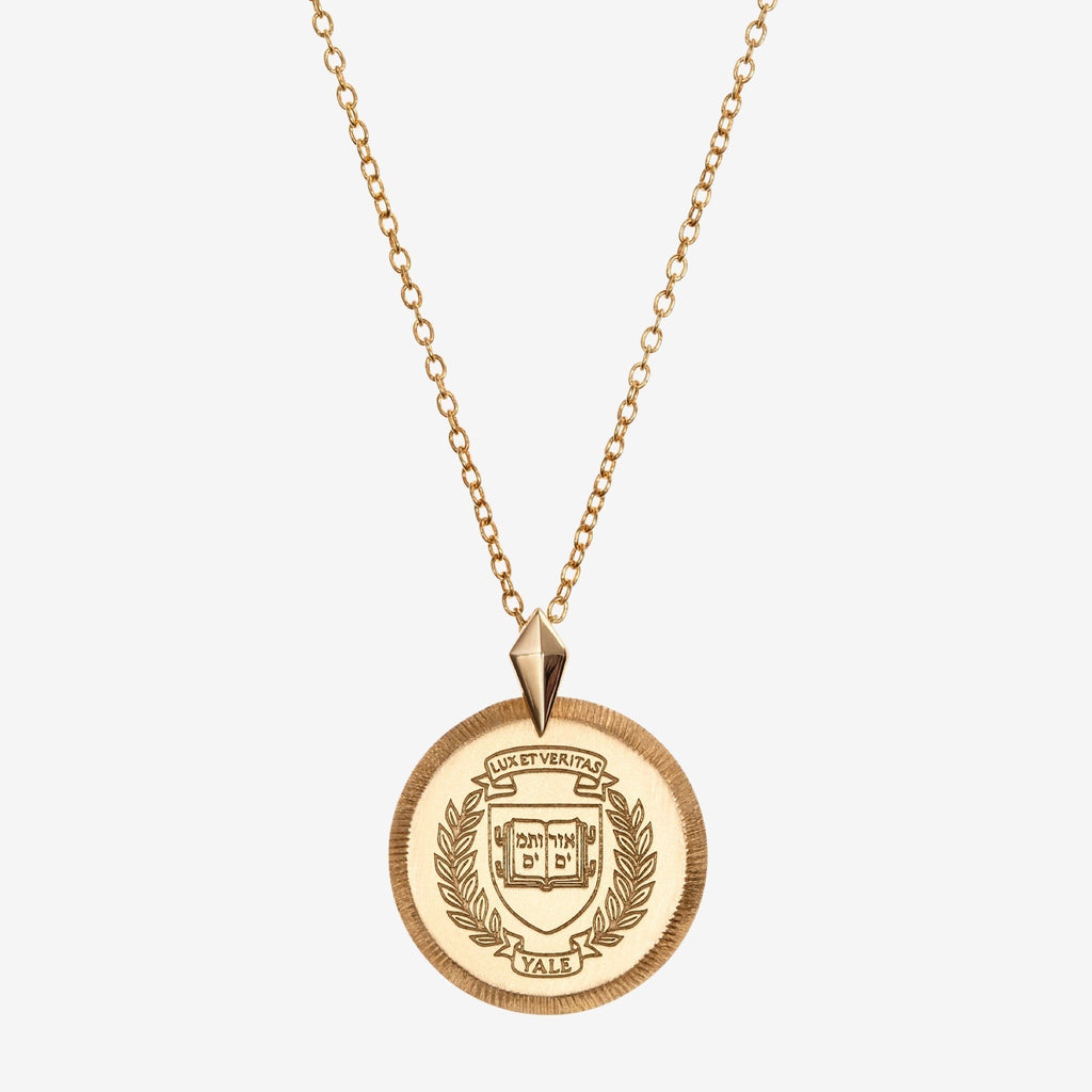 Gold Yale Florentine Crest Necklace Petite
