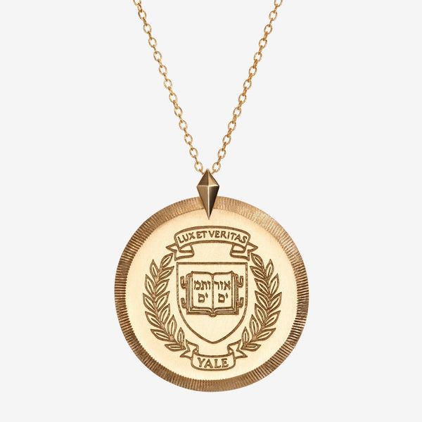 Gold Yale Florentine Crest Necklace Large