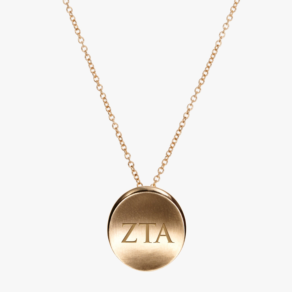 Gold Zeta Tau Alpha Letters Necklace