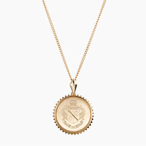 Gold Zeta Tau Alpha Sunburst Crest Necklace