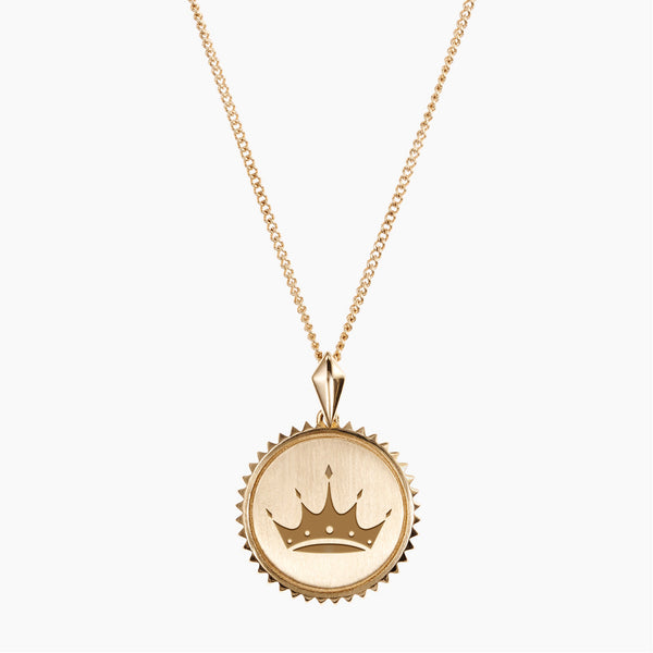 Gold Zeta Tau Alpha Sunburst Crown Necklace