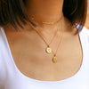 Gold Theta Tau Sunburst Crest Necklace on Model