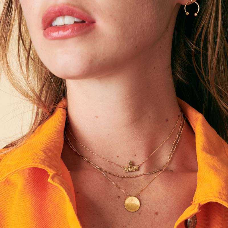 Gold Phi Mu Letters Necklace on Model