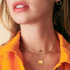 Gold Kappa Kappa Gamma Letters Necklace on Model